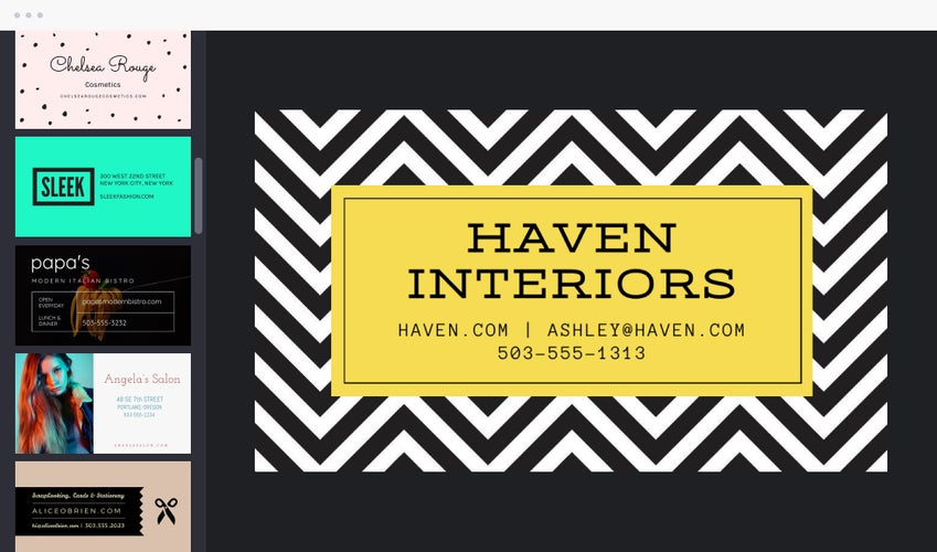 BeFunky business card templates