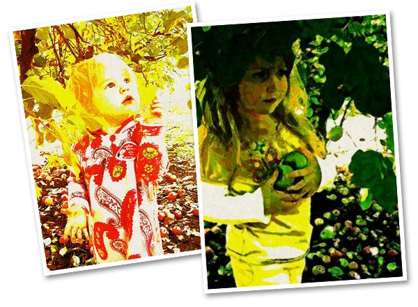 Michelle's daughters at the garden