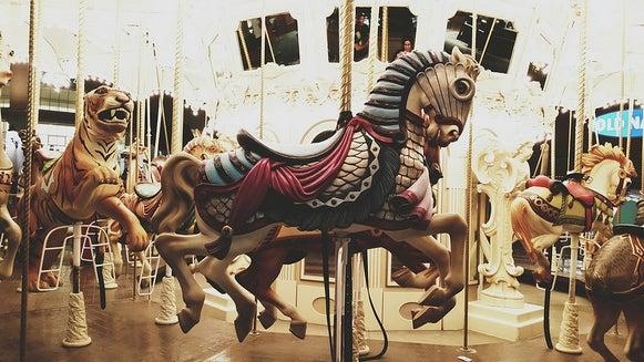 Amusement Park, Theme Park, Carousel, Person, Human, Horse