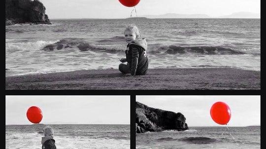 Balloon, Ball, Person, Human, Collage, Poster