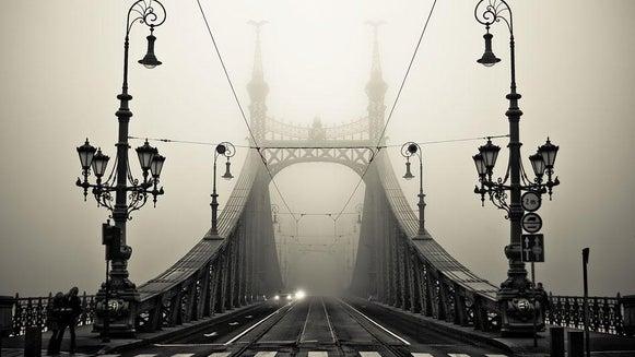 Nature, Bridge, Building, Fog, Person, Human