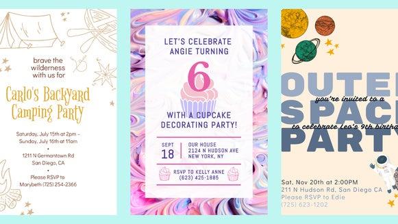 kid's birthday invite header
