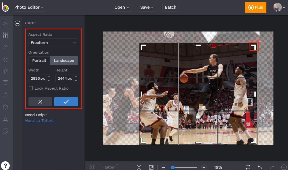 how to crop photos in BeFunky