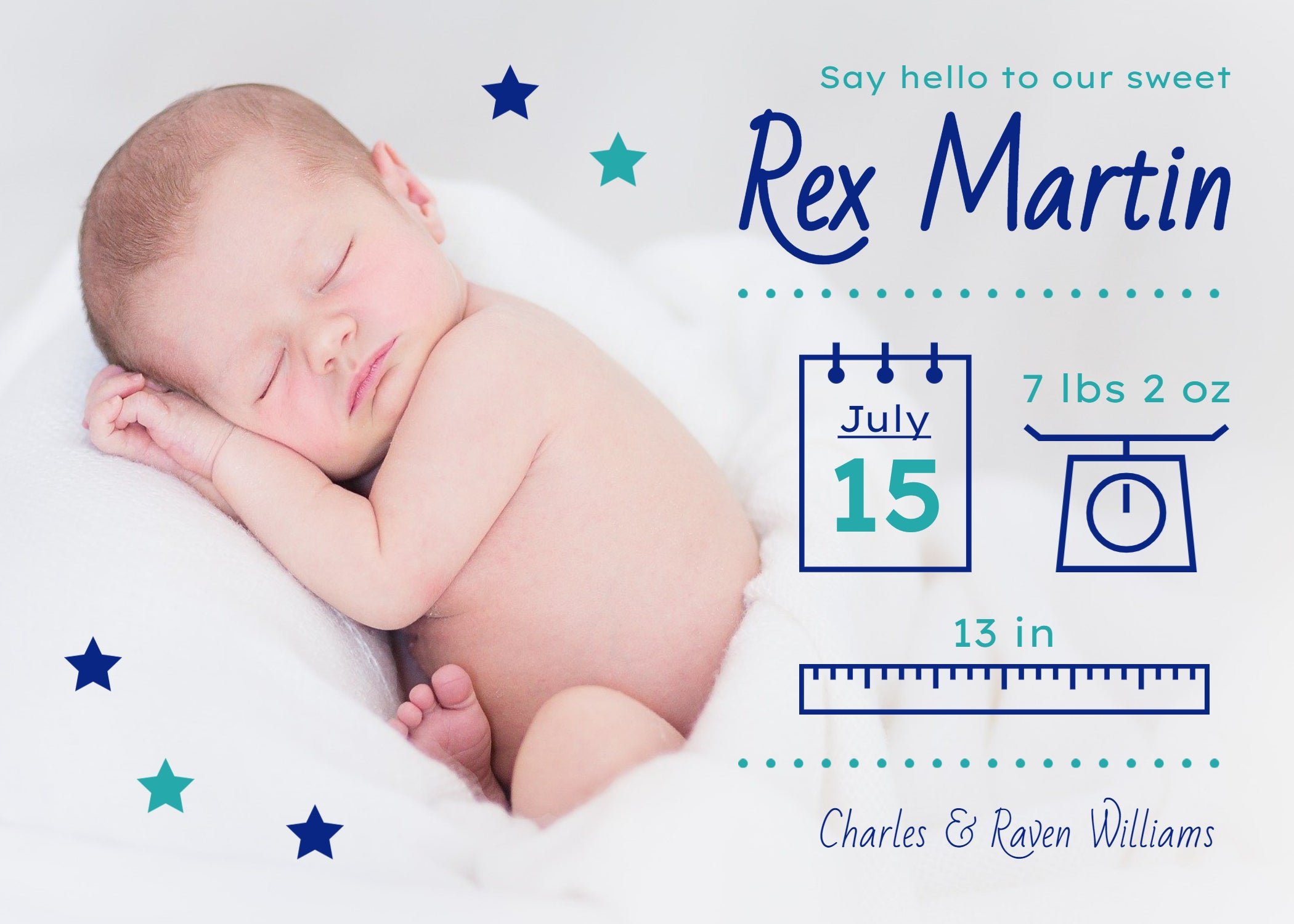 EMAILED JPG ONLY Birth Announcement Digital Portrait