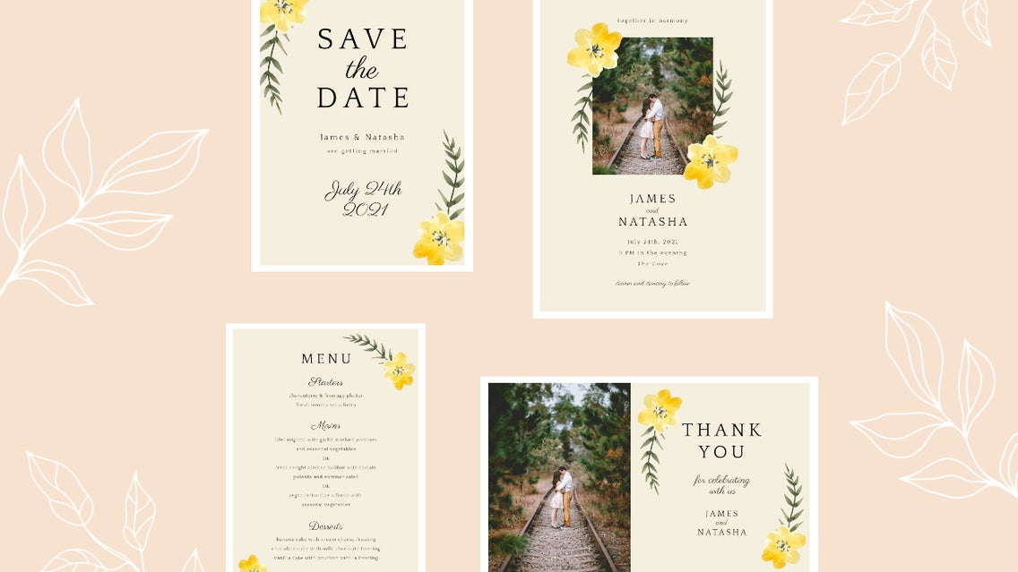 wedding invitation set designer by BeFunky